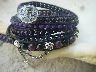 5 wrap bracelet mix violet purple beads crystal agate leather skull ying yang