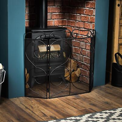 Fire Screen Black Panel Fireside Fireplace Safety Guard Folding By Home Discount