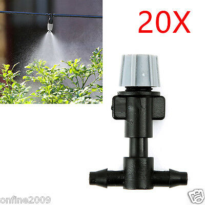 20X Spray Heads Atomizing Nozzle + Tee Joints Misting Irrigation Outdoor Garden