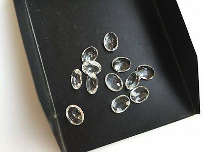 25 Pieces Crystal Quartz Oval Faceted Loose Calibrated Cabochons 8x6mm Each CQ7
