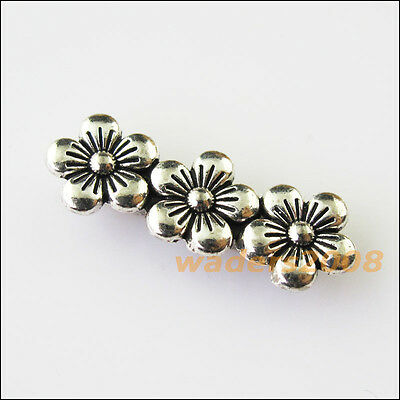 6 New 3Holes Flower Bars Connectors Charms Tibetan Silver Spacer Beads 9.5x26mm