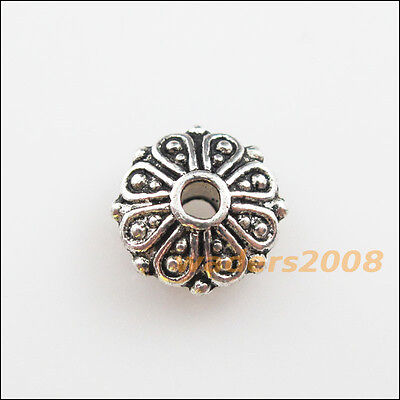 15 New Charms Tibetan Silver Tone Flower Round Flat Spacer Beads 9mm