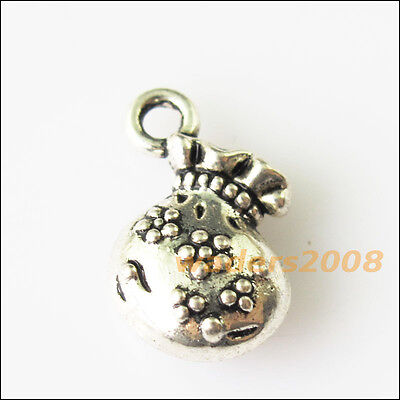 8 New Flower Wallet Shopping Bag Tibetan Silver Tone Charms Pendants 12x16mm