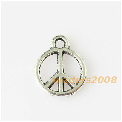 30 New Round Peace Sign Tibetan Silver Tone Charms Pendants 10x13mm