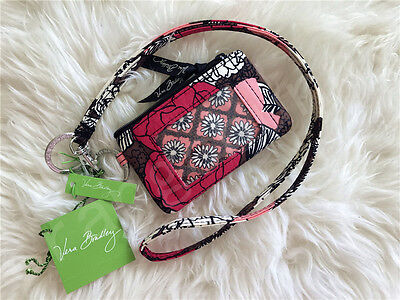 New Vera Bradley Zip Id coin Case and Lanyard set in Mocha Rouge NWT