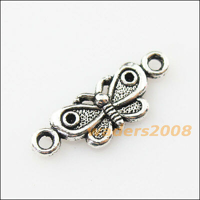 20 New Animal Butterfly Connector Tibetan Silver Tone Charms Pendants 7.5x21.5mm
