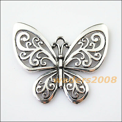 1 New Flying Butterfly Animal Tibetan Silver Tone Charms Pendants 47x56mm