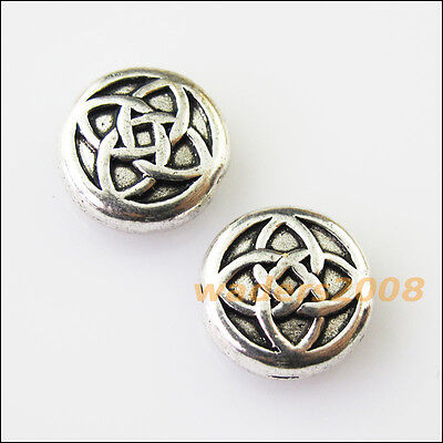 8 New Round Chinese Knot Charms Tibetan Silver Tone Spacer Beads 10.5mm