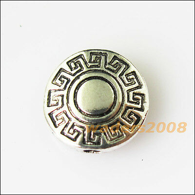 12 New Round Flower Charms Tibetan Silver Tone Spacer Beads 10mm