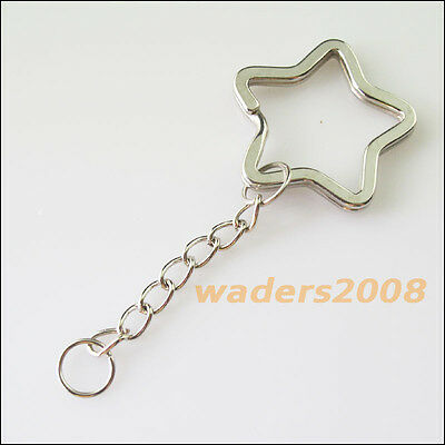 3 New Connectors Dull Silver Plated Split Star Key Rings With Chains 34mm