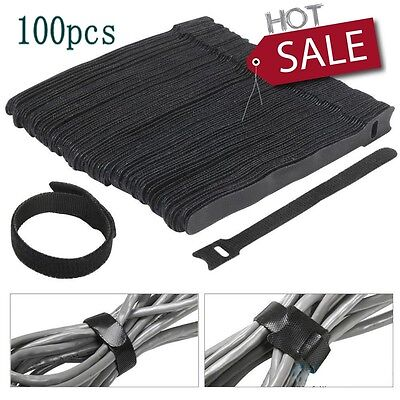 100pcs Nylon Velcro Cable Ties Fastening Cable with Reusable Hook and Loop Strap