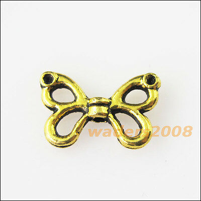 25 New Animal Butterfly Bow Connector Tibetan Gold Tone Charms Pendants 9.5x15mm