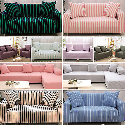 UK L Coner Stretch Sofa 1 2 3 4 Seater Protector Striped Couch Cover Slipcover