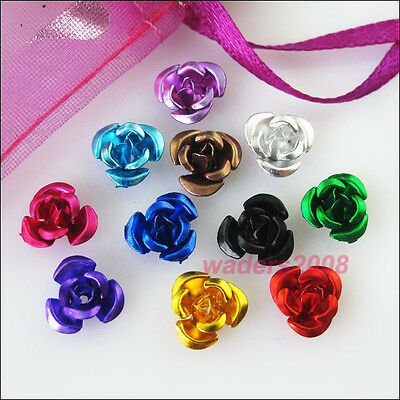 200 New Charms Mixed Aluminum Beautiful Flower Spacer Beads 6mm