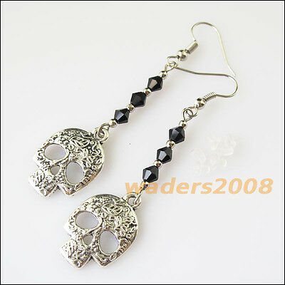 2Pairs Women Jewelry Winsome Retro Chinese Knot Red Crystal Dangle Hook Earrings