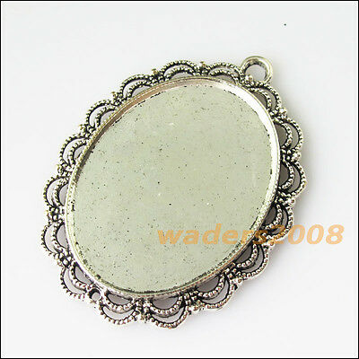 2Pcs New Flower Round Picture Frame Tibetan Silver Tone Charms Pendants 41x51mm