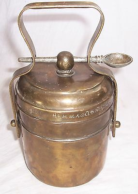 Vintage Old Brass 2 Compartment Unique Shape Tiffin Lunch Box collectible 112