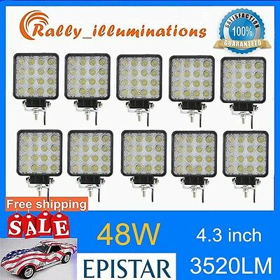 10X 48W Spot LED Off road Work Light Lamp 12V 24V JEEP boat Truck Driving RALLY