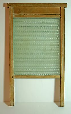 Antique wood and glass washboard with rippled glass  - kitchenalia