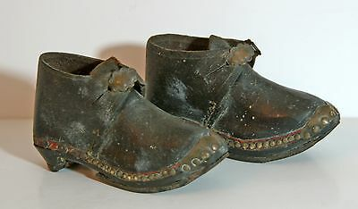 Vintage child's Yorkshire Lancashire clogs leather wood horseshoe soles display