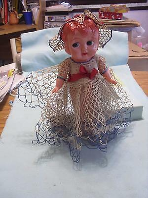 "Vintage 10"" Tall Celluloid Material Doll Signed K Japan With Crochet Outfit Cute"