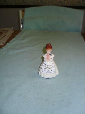 Vintage Enesco Praying Kitchen Maid Blue & White Single Salt Or Pepper E 3348