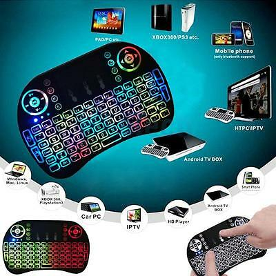 Mini i8 2.4G USB Horse Race Lamp Air Mouse Wireless Keyboard with Touchpad Black