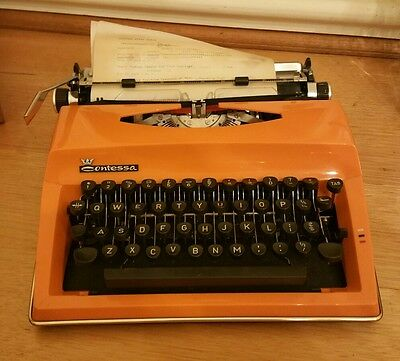 Vintage Retro Orange Contessa Typewriter with case working TYPE WRITER Holland