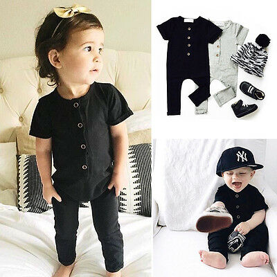 UK Newborn Baby Boy Girl Clothes Romper Bodysuit Playsuit Clothes Outfits
