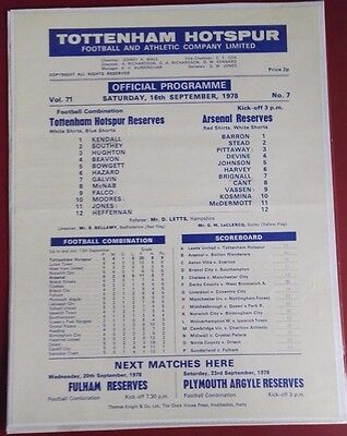 1978-79 TOTTENHAM HOTSPUR - RESERVES vs. ARSENAL   Rare Single Sheet VGC NO. 7