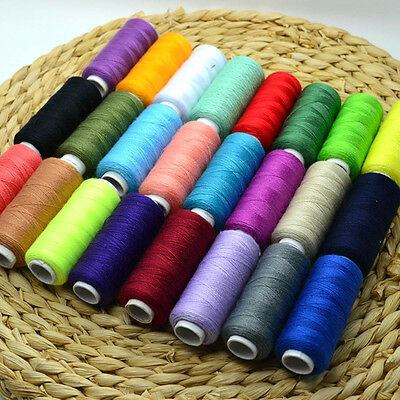 24X Colour 100% Cotton Reel Spools Quality Sewing Yarn Pure All Purpose Thread