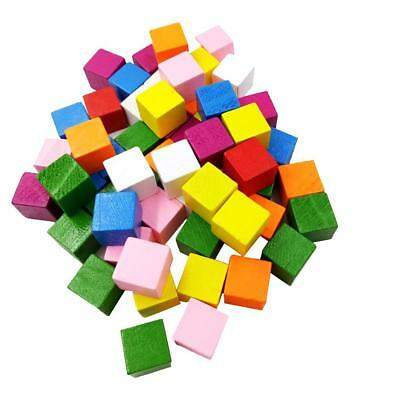 50 Colorful Wooden Blocks Cube Embellishments Kids Educational Game Toy 15mm
