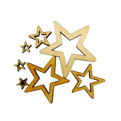 50x Assorted Size Unfinished Wooden Shape Star Embellishments for DIY Crafts