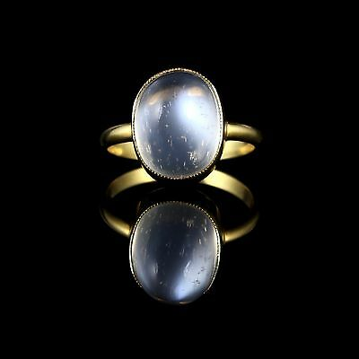 Antique Victorian Moonstone Ring 18Ct Gold Silver