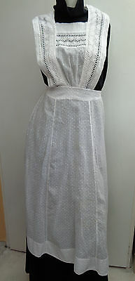 Beautiful Antique Victorian Edwardian Maids Embroidered Full Apron