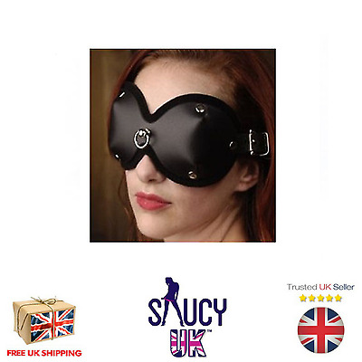 Leather Blindfold with D-Ring - UK SELLER