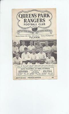 QPR v Fulham Football Programme Southern Floodlight Cup 1958/59