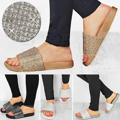 Womens Ladies Flat Diamante Slippers Comfy Sliders Sandals Slip On Shoes Size