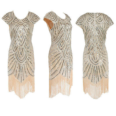 Great Gatsby 1920's Vintage Charleston Sequin Tassels Beads Flapper Dress Party