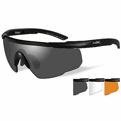Wiley X Saber Advanced Tactical Military Shooting Safety Glasses 3 Lens Kit NEW
