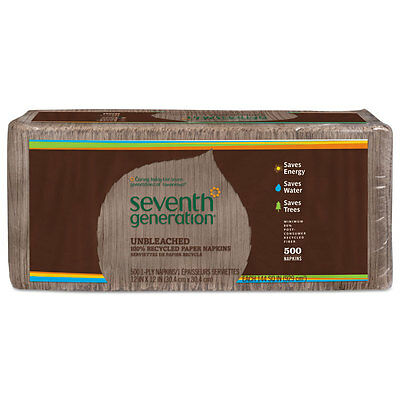 SEVENTH GENERATION 100% Recycled Napkins, 1-Ply, 12 x 12, Unbleached, 500/Pack