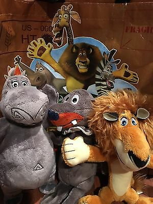 Madagascar Plush Toy Dreamworks Alex-Gloria-Stefano Stuffed Animal Tote Bag lot