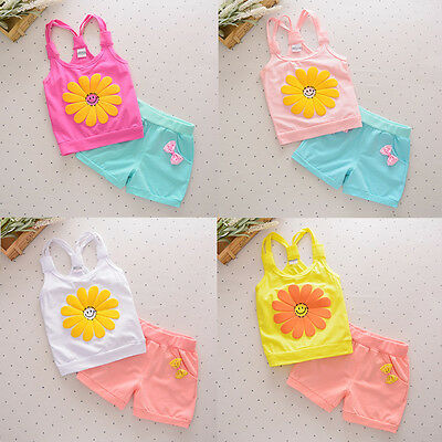 Toddler Kids Baby Girl Outfits Set Tops Vest+Shorts Pants Summer 2PCS Clothes UK