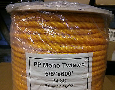 """5/8"""" x 600' 3-Strand Twisted Yellow Poly Pro Rope"""
