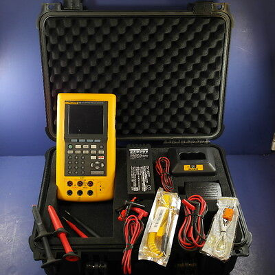 Fluke 744 Documenting Process Calibrator, Good! Leads Probes Case Extras!
