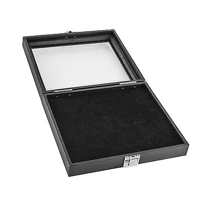 Jewelry Showcase Display Case Glass Top Portable Box Black New 36 Ring Slots