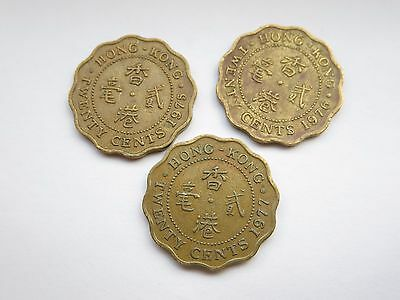Hong Kong 20 Cents From 1975 To 1979 (5 Coins)
