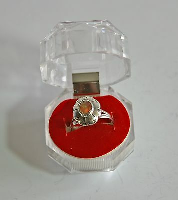 Vintage Navajo Native American 925 sterling silver opal ring size 8 in box