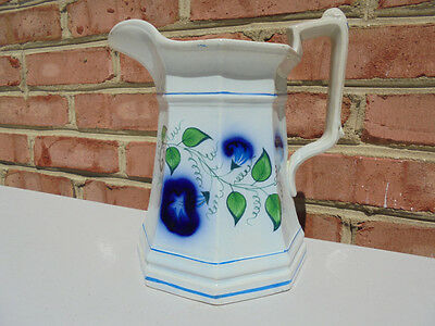 Old Antique Gaudy Ironstone Morning Glory Flow Blue Water Pitcher