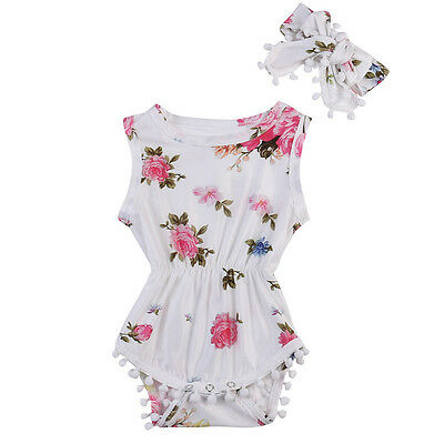 Floral Infant Baby Girl Floral Romper Jumpsuit Headband Outfits Clothes UK Stock
